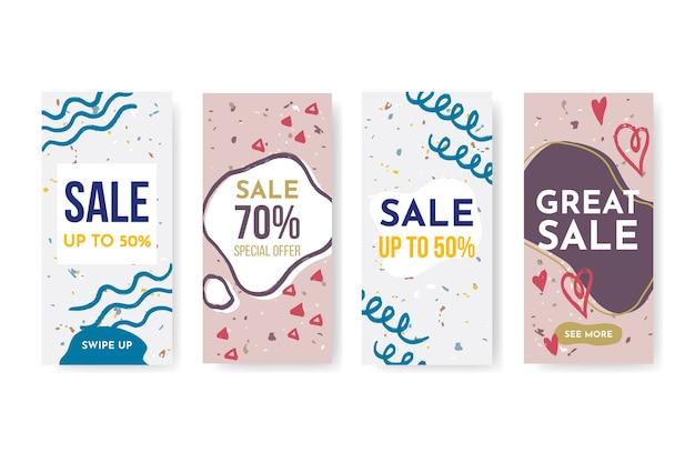 Collezione di storie instagram vendita disegnata a mano Vettore gratuito