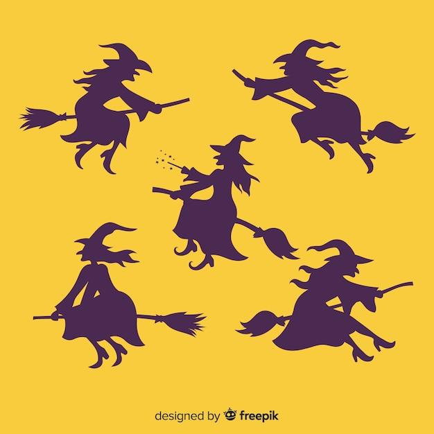 Collezione di streghe di halloween sagoma Vettore gratuito