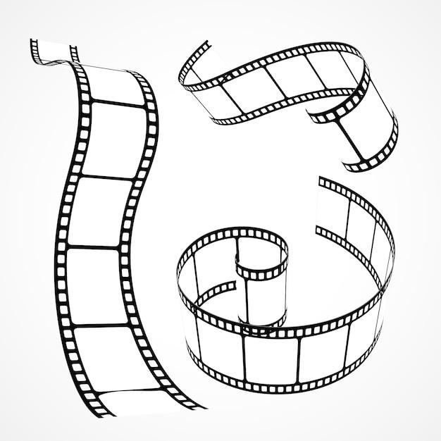 Collezione di strisce di pellicola 3d Vettore gratuito