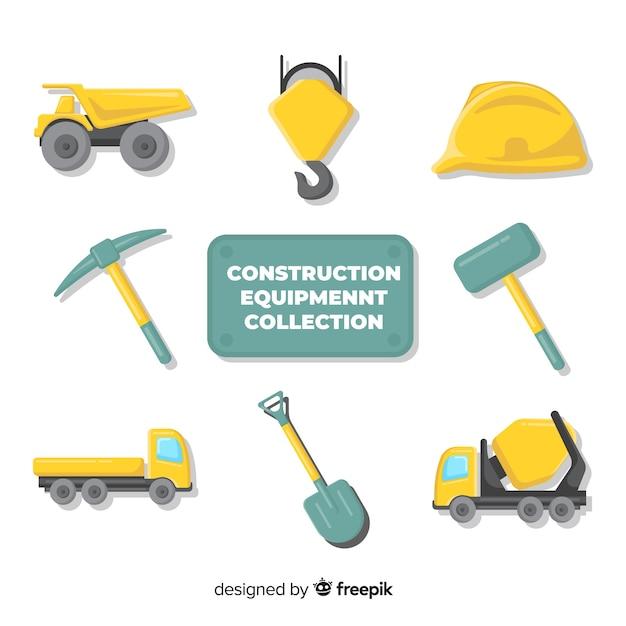 Collezione di strumenti di costruzione piatta Vettore gratuito