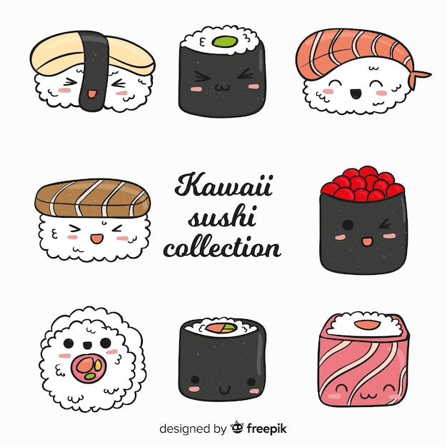 Collezione di sushi carino disegnato a mano Vettore gratuito