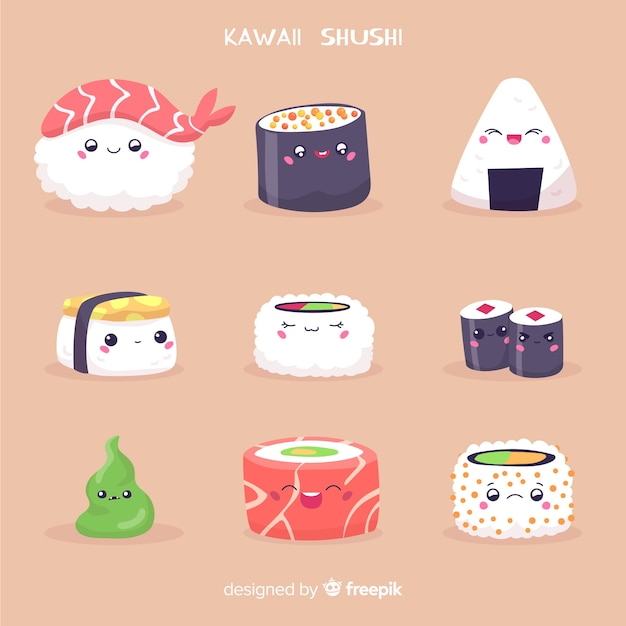 Collezione di sushi disegnata a mano kawaii Vettore gratuito