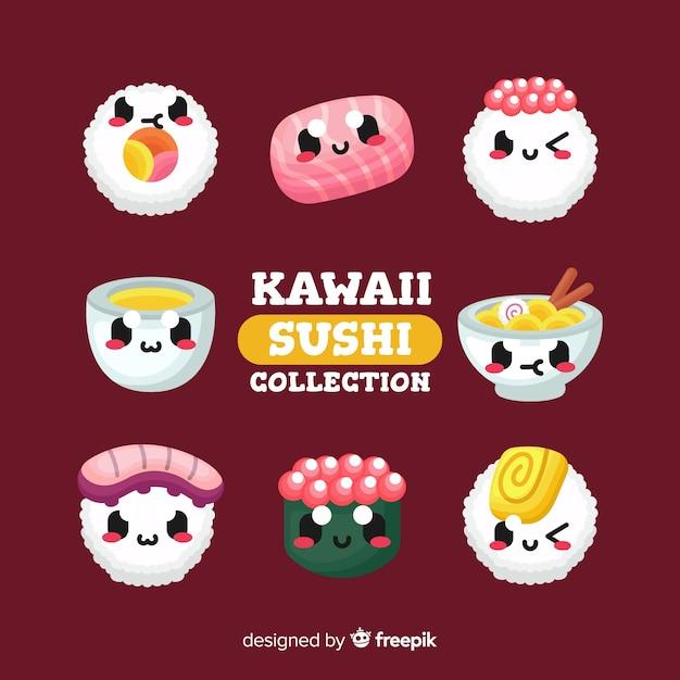 Collezione di sushi kawaii Vettore gratuito