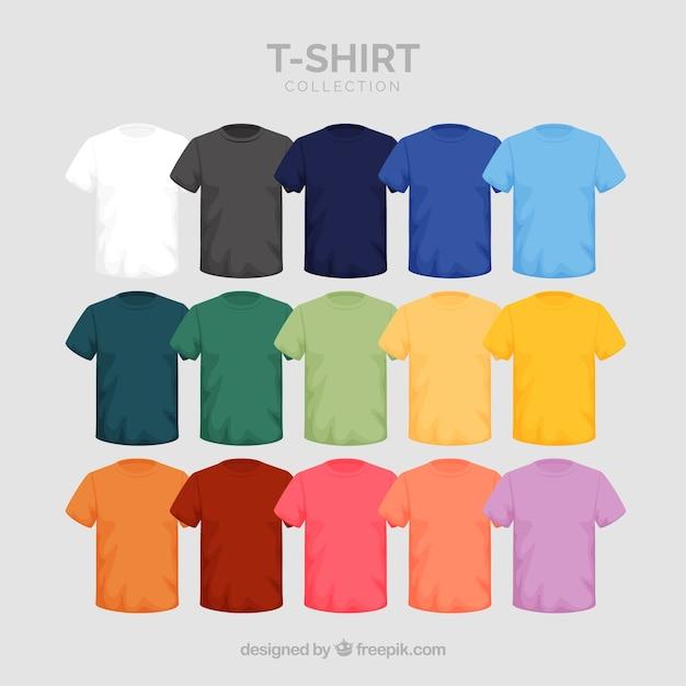 Collezione di t-shirt 2d in diversi colori Vettore gratuito