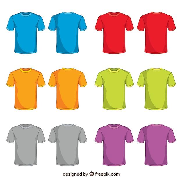 Collezione di t-shirt colorata 2d con stile disegnato a mano Vettore gratuito