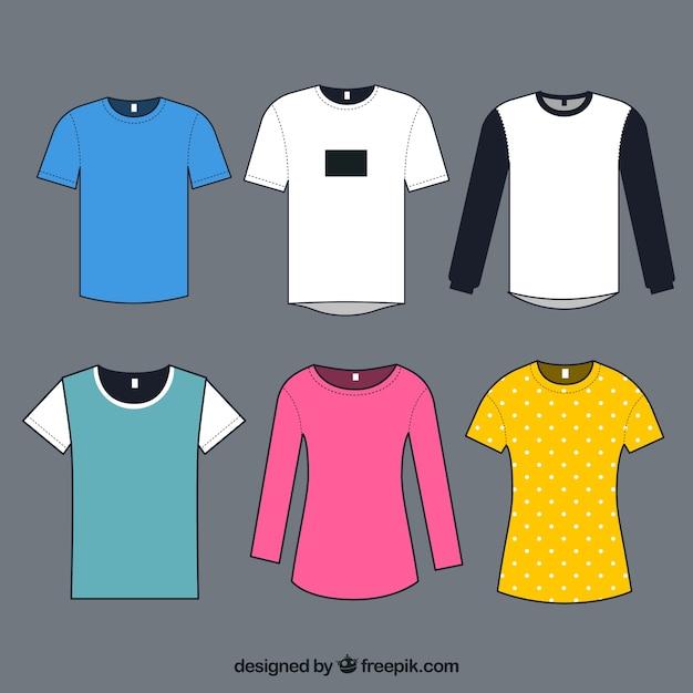 Collezione di t-shirt in diversi colori Vettore gratuito