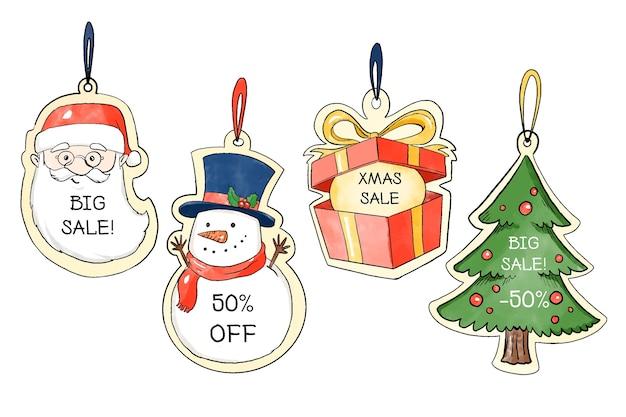 Collezione di tag di vendita di natale dell'acquerello Vettore gratuito