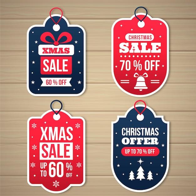 Collezione di tag di vendita di natale design piatto Vettore gratuito