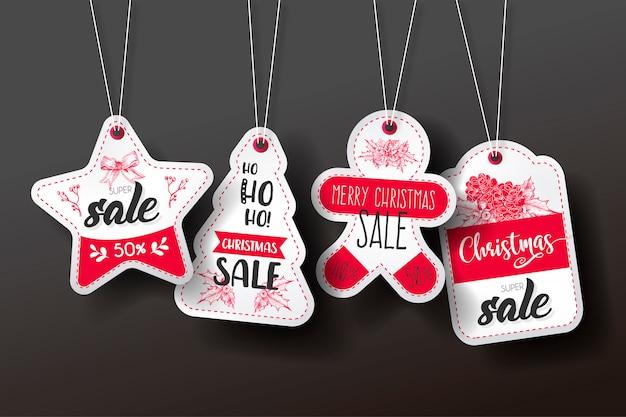 Collezione di tag di vendita di natale Vettore gratuito