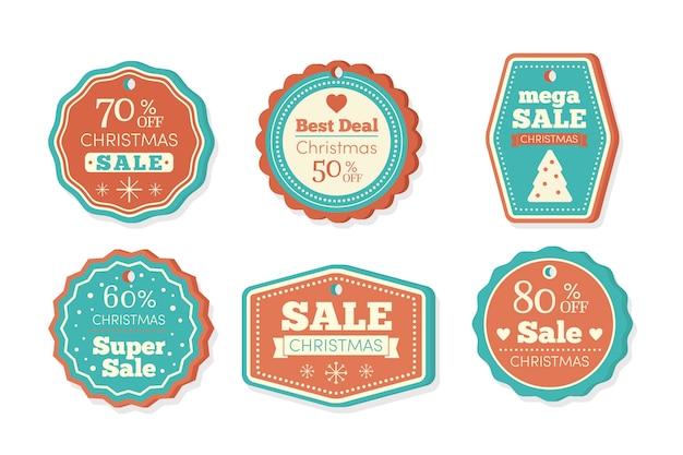 Collezione di tag vendita di natale Vettore gratuito