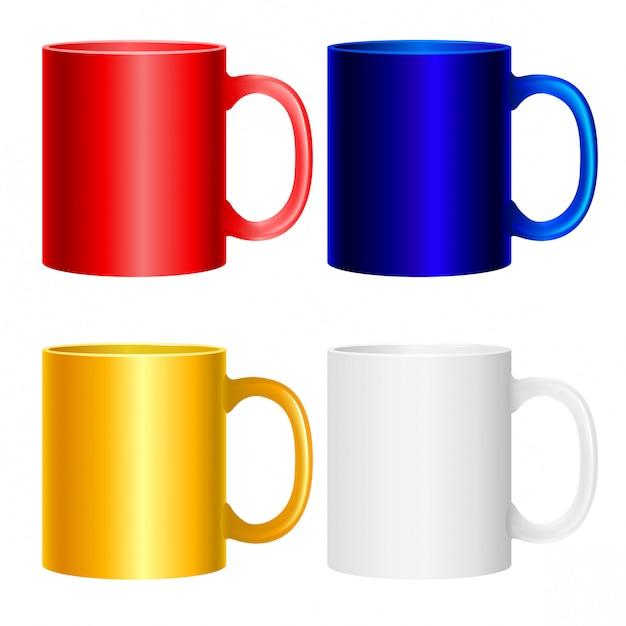 Collezione di tazze su bianco. icone isolate colorate per progetti di design. Vettore Premium