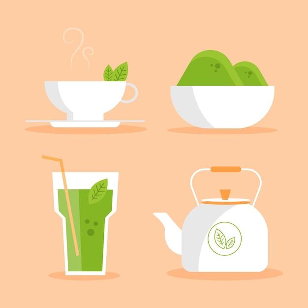 Collezione di tè matcha Vettore gratuito