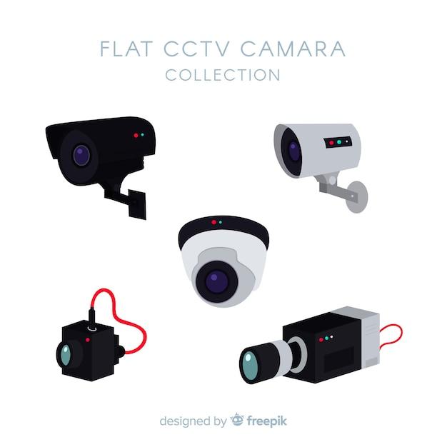 Collezione di telecamere cctv con design piatto Vettore gratuito