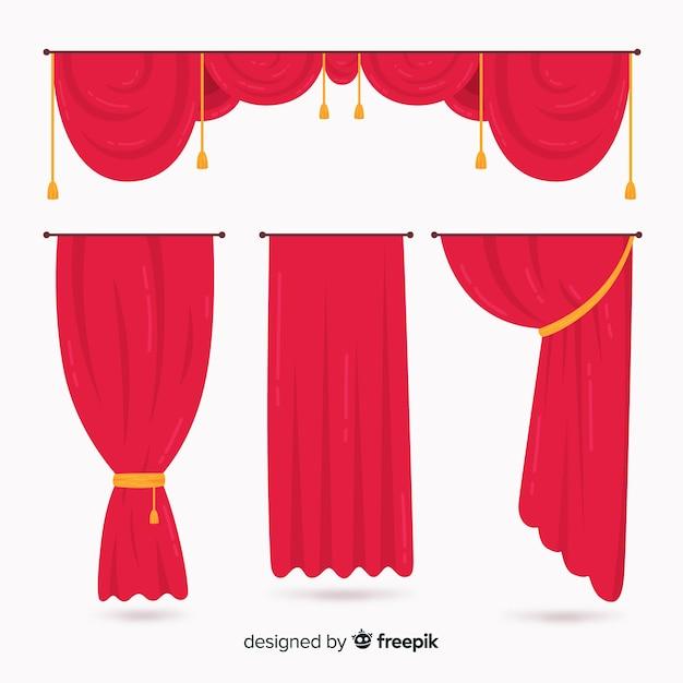 Collezione di tende rosse design piatto Vettore gratuito