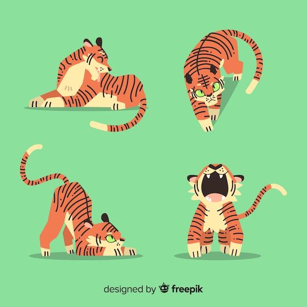 Collezione di tigri disegnate a mano Vettore gratuito