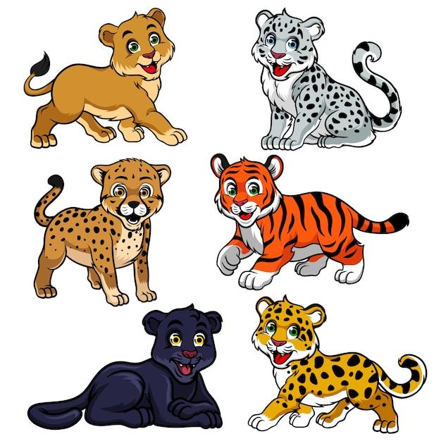 Collezione di tigri non fastidiose per bambini Vettore Premium