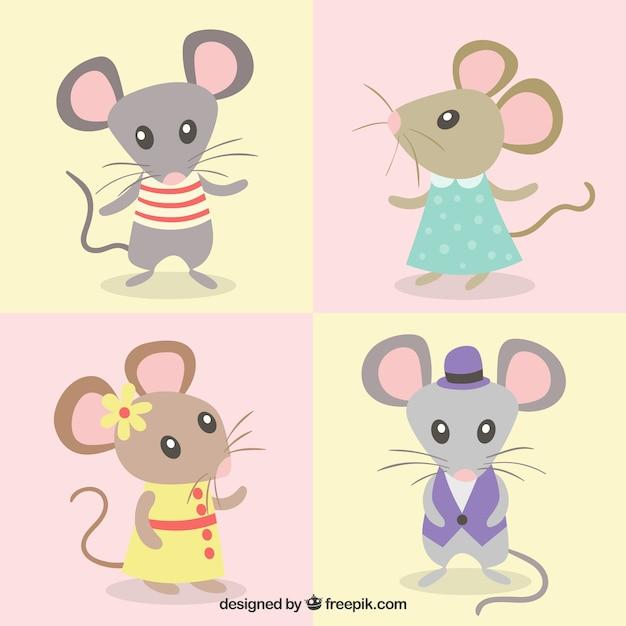 Collezione di topi cartoon Vettore gratuito