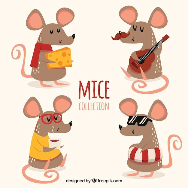 Collezione di topi piatti con diverse pose Vettore gratuito