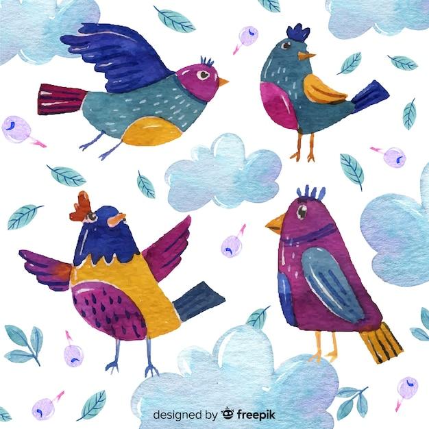 Collezione di uccelli autunnali disegnati a mano Vettore gratuito