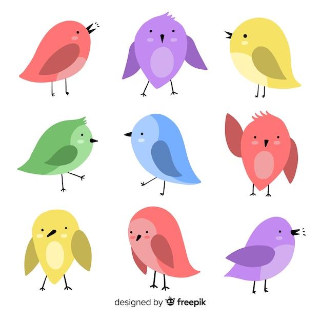 Collezione di uccelli disegnati a mano Vettore gratuito