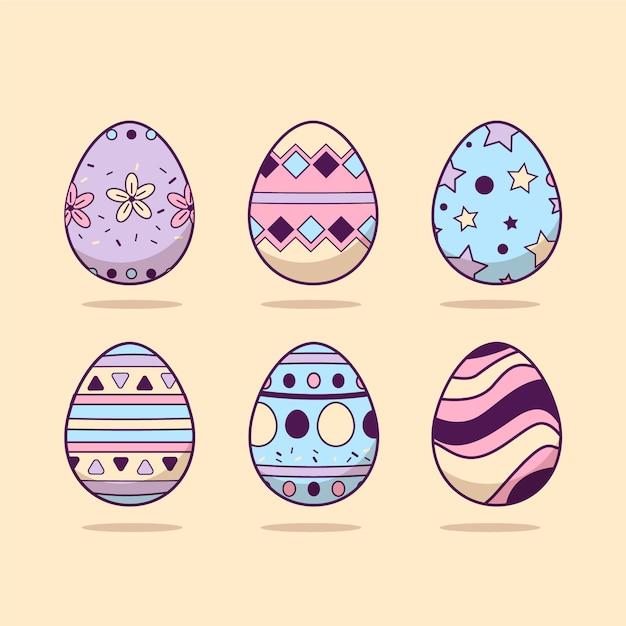 Collezione di uova di design piatto giorno di pasqua Vettore gratuito