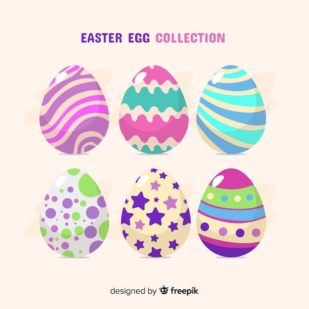 Collezione di uova di pasqua colorate Vettore gratuito