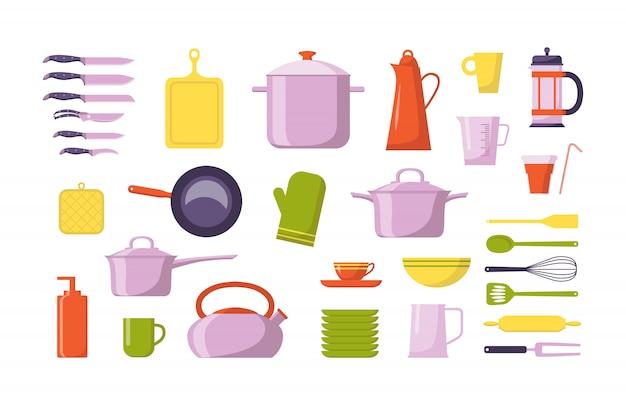 Collezione di utensili da cucina piatta. imposti con gli utensili per cucinare, isolato Vettore Premium