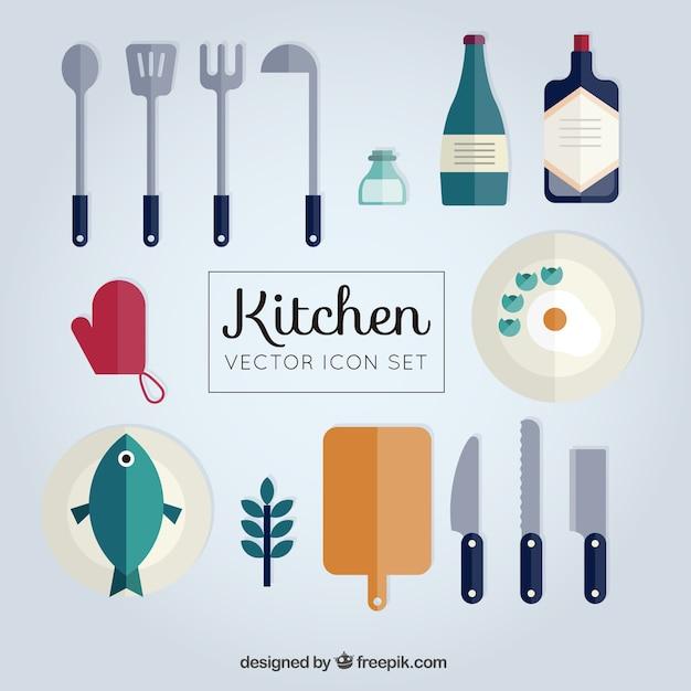 Collezione di utensili da cucina piatti | Scaricare vettori Premium