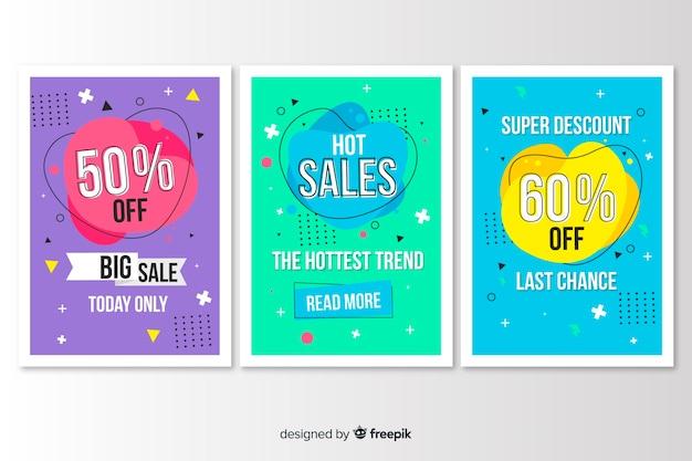 Collezione di vendita banner stile memphis Vettore gratuito