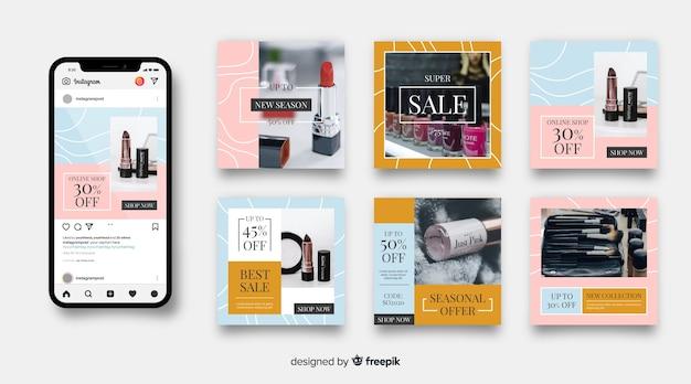 Collezione di vendita di moda astratta post di instagram Vettore gratuito