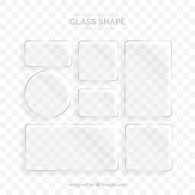 Collezione di vetro con forme diverse Vettore gratuito