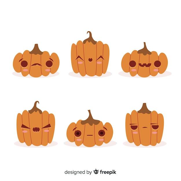 Collezione di zucca di halloween carino disegnato a mano Vettore gratuito