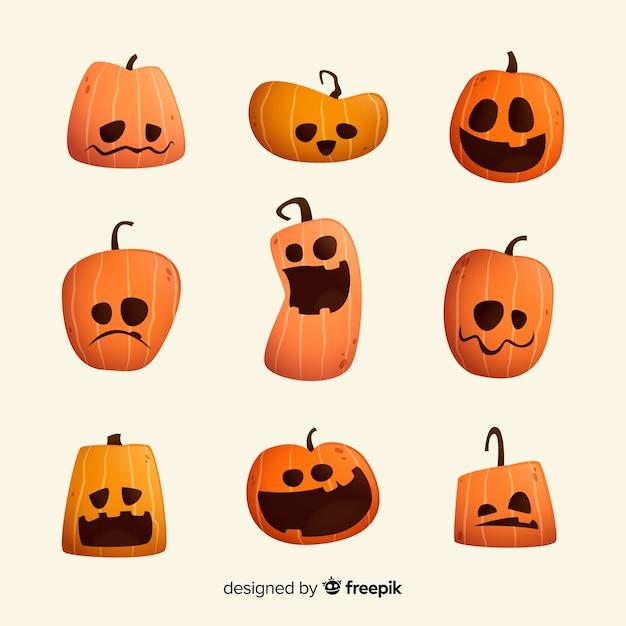 Collezione di zucca piatta del fumetto di halloween Vettore gratuito