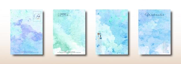 Collezione dipinta a mano ad acquerello blu e verde Vettore Premium