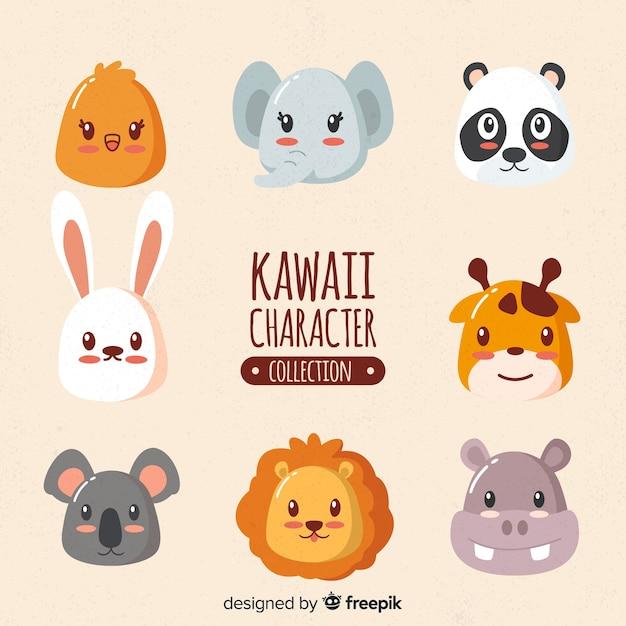 Collezione disegnata a mano di animali kawaii Vettore gratuito