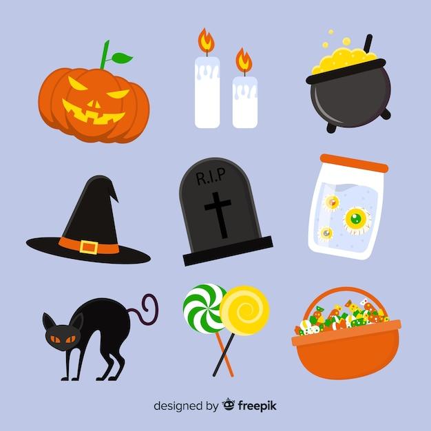 Collezione element per accessori piatti halloween Vettore gratuito