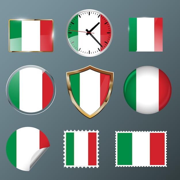 Collezione flag italia Vettore Premium