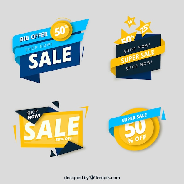 Collezione flat label / badge Vettore gratuito
