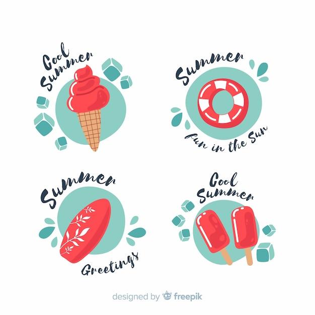 Collezione flat summer badge Vettore gratuito