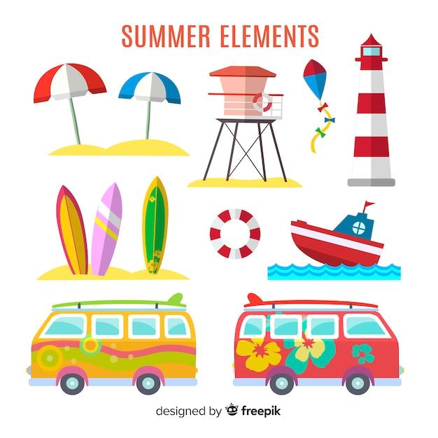 Collezione flat summer elements Vettore gratuito