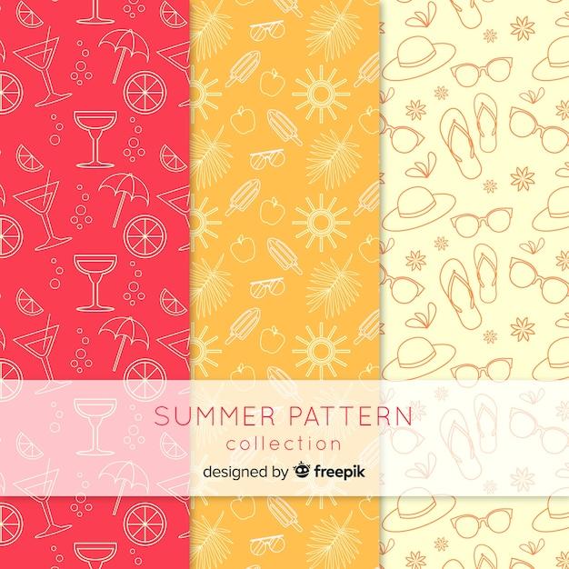 Collezione flat summer pattern Vettore gratuito