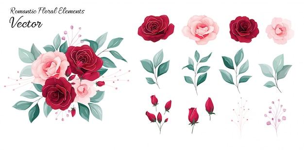 Collezione floreale. fiorisce l'illustrazione della decorazione dei fiori rosa rossi e della pesca, foglie, rami Vettore Premium