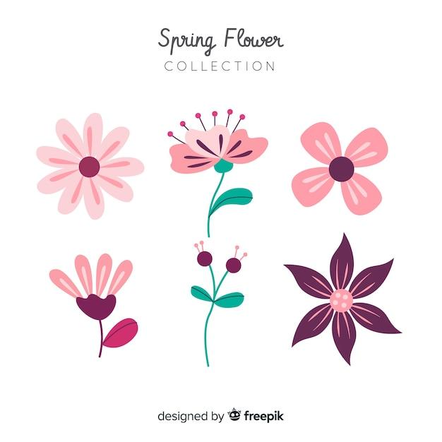 Collezione floreale primaverile Vettore gratuito
