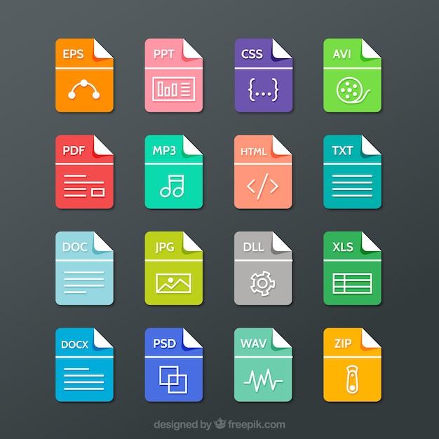 Collezione formati di file Vettore gratuito
