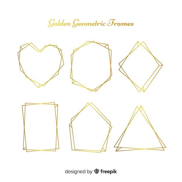 Collezione geometrica cornice dorata Vettore gratuito