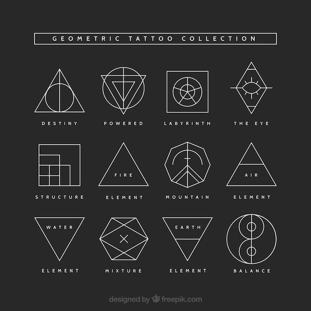 Collezione Geometrica Del Tatuaggio Scaricare Vettori Gratis
