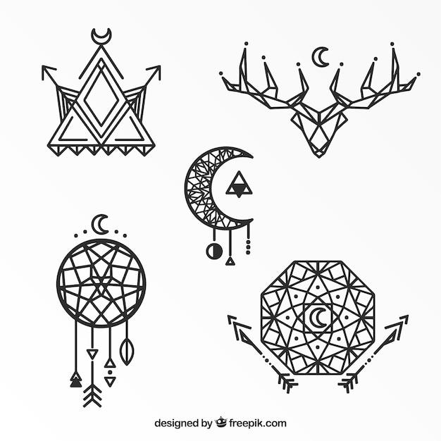 Collezione geometrica tatuaggio etnico Vettore gratuito