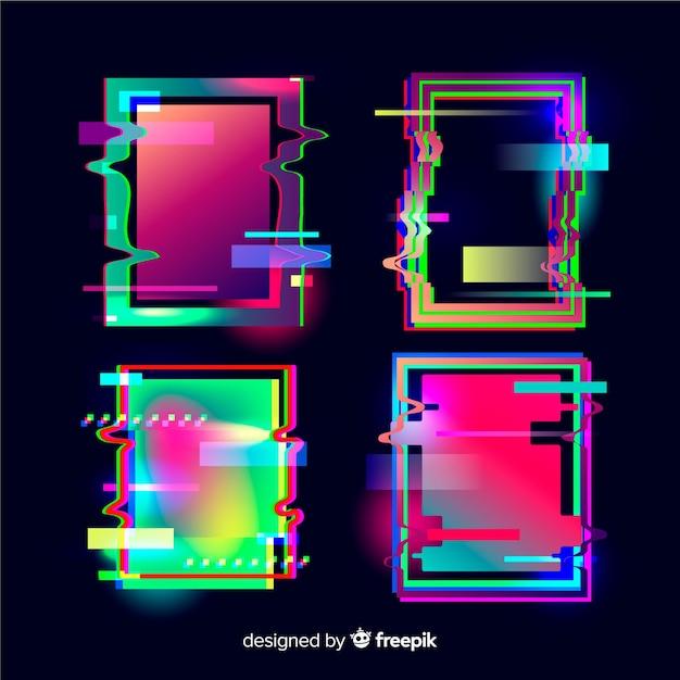 Collezione glitch geometrica Vettore gratuito