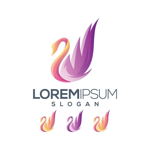 Collezione gradiente logo goose Vettore Premium
