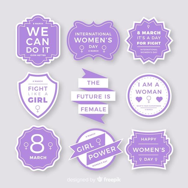 Collezione internazionale di etichette per donne Vettore gratuito